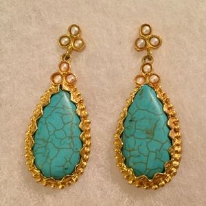 NEW TURQUOISE-LOOK STATEMENT EARRINGS